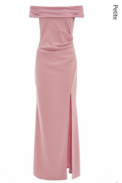 Petite Mauve Bardot Split Maxi Dress